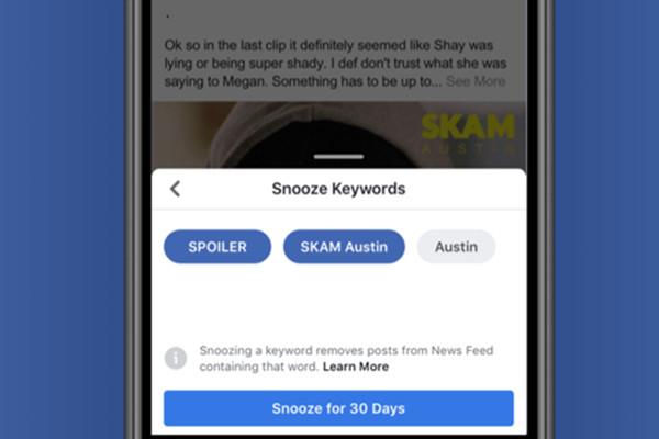"""脸书洗版克星来了 """"打盹关键字""""阻挡讯息30天"""