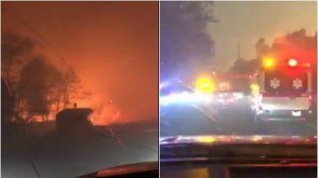 加州野火夹攻 父载3岁女儿逃跑影片爆红