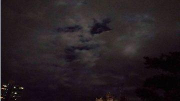 夜空现人脸?台东气象站:云层水汽变化