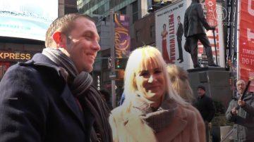 中西方人浪漫過情人節 紐約時代廣場上演求婚
