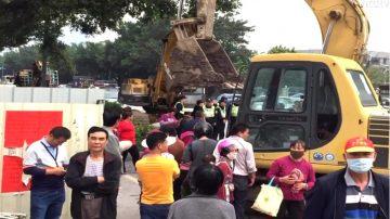 廣東數百失地村民連日靜坐阻止施工